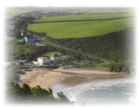 View of Mawgan Porth beach from Trenance